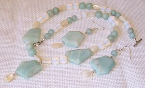 amazonite,opalite,sea shell,necklace