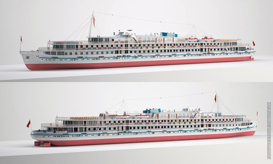 дизель-электроход Ленин 3D модель визуализация