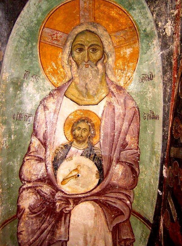 Святая Троица. Фреска церкви Панагия Кубелидики в Кастории, Греция. Около 1260 - 1280 годов.