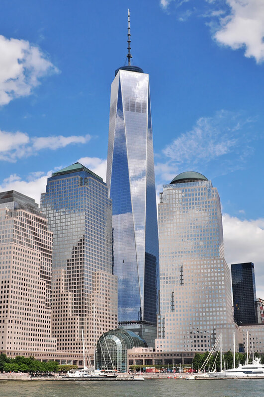 Rebuilt One World Trade Center nearing completion in July 2013