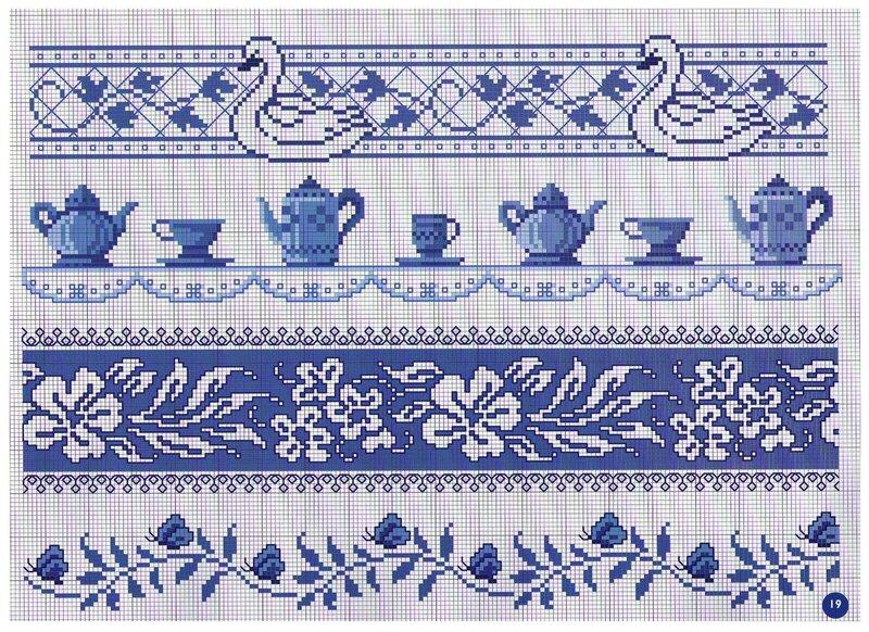 БОРДЮРЫ С ЧАШКАМИ И ЧАЙНИКАМИ, бордюры, чашки чайники, вышивка   крестикои