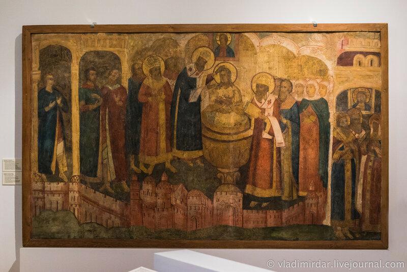 Фрагмент стенописи «Крещение княгини Ольги». Москва. Новоспасский монастырь. 1869 г.