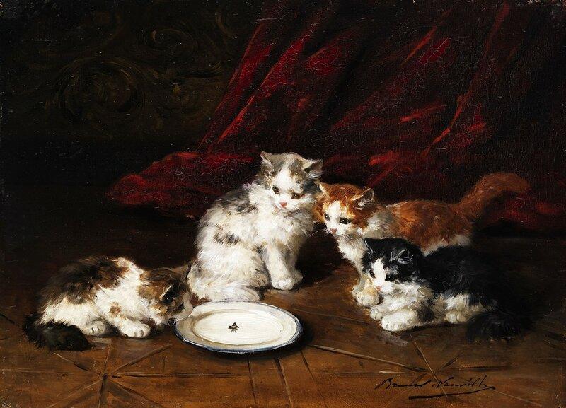 Четыре котенка у молока с мухой.jpg