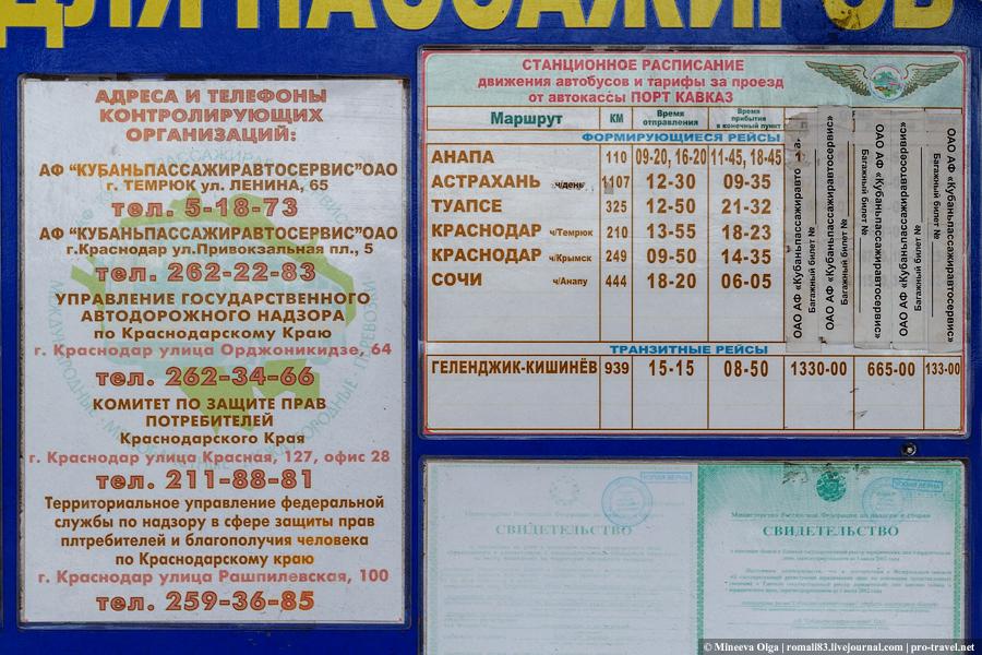 расписание автобусов из порта Кавказ