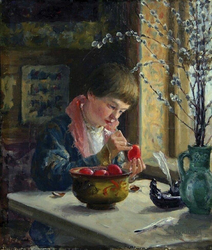 Милорадович Сергей Дмитриевич (1851-1943) - Приготовление к Пасхе, 1910 г. // Sergei Miloradovich - Preparation for Easter, 1910