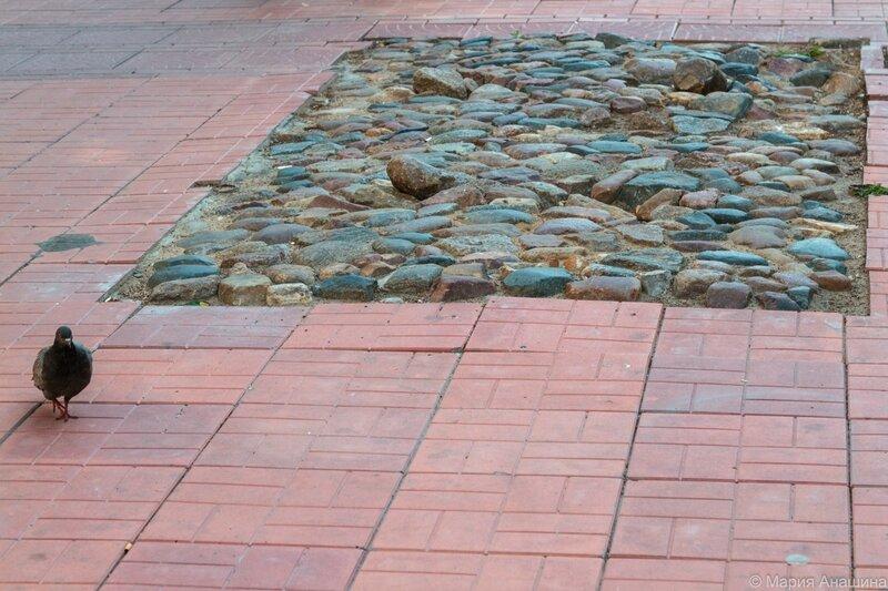 Фрагмент старой брусчатки, Трехсвятская улица в Твери