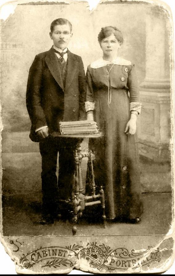 1918. Михаил Голубев и жена Вера Владимировна Голубева (урожденная Семенова)
