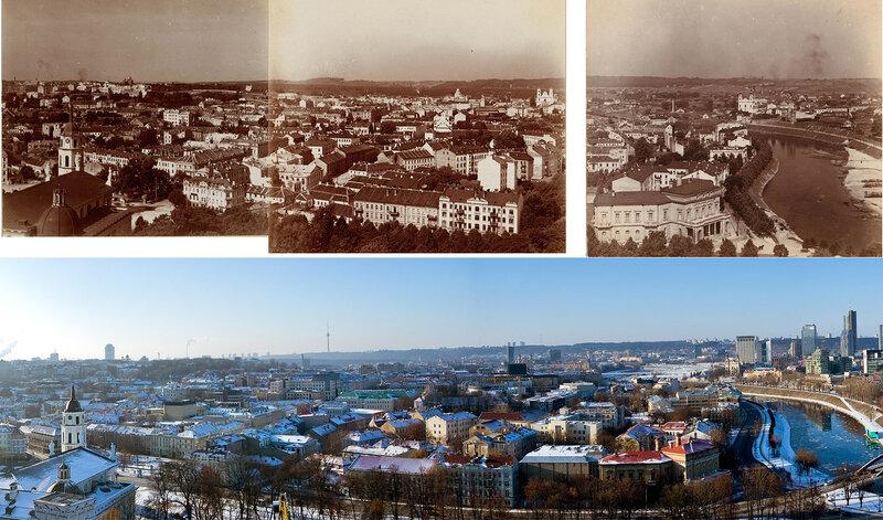 Панорама Вильнюса Прокудина-Горского и на современном снимке
