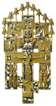 Крест «Распятие Христово с предстоящими и избранными иконами»  XIX в.  Медный сплав, литье, эмаль. 32.2 × 16.5 × 0.3 см