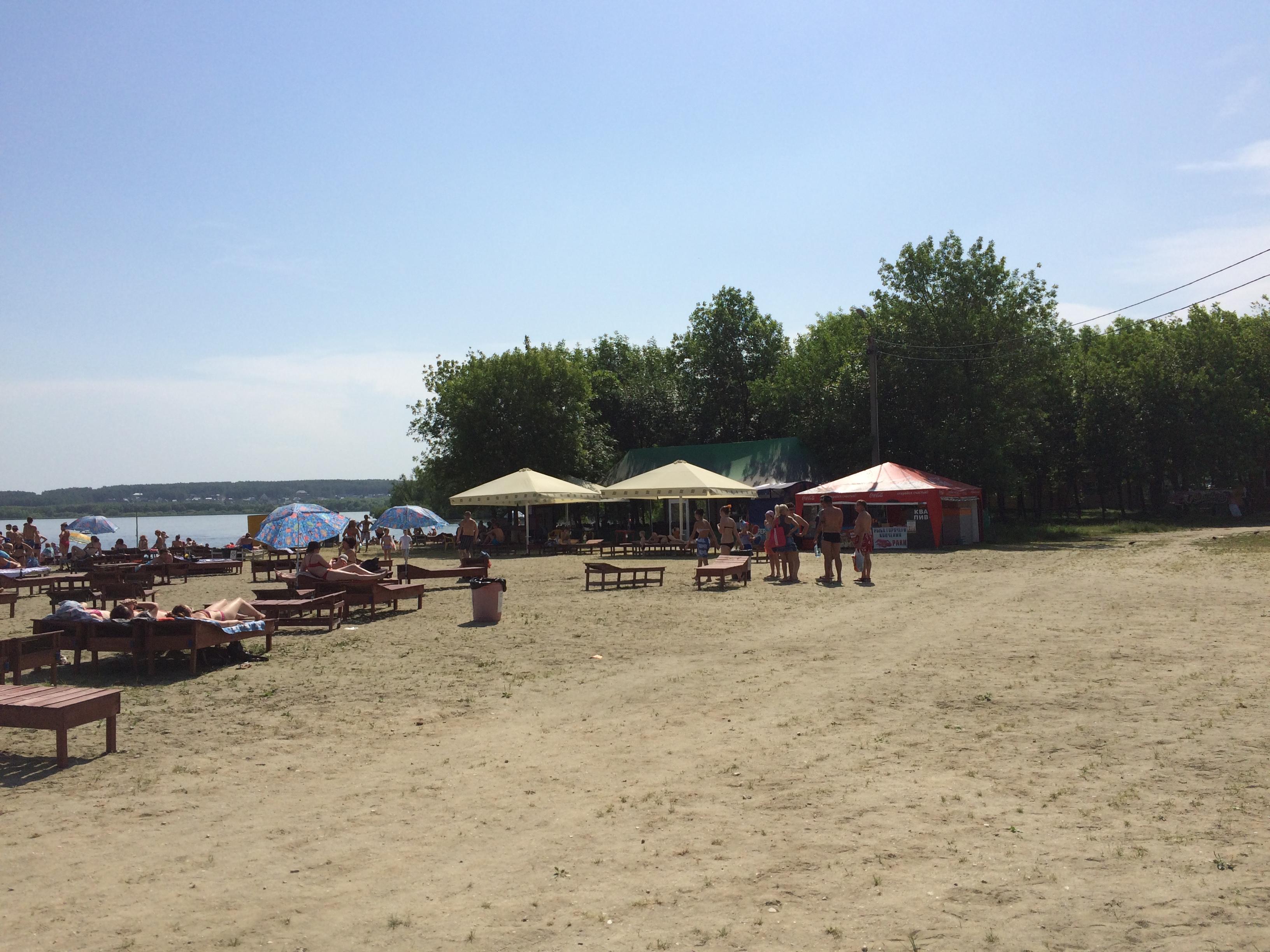 Платный пляж ″Белый парус″ на Шершнёвском водохранилище (22.06.2015)