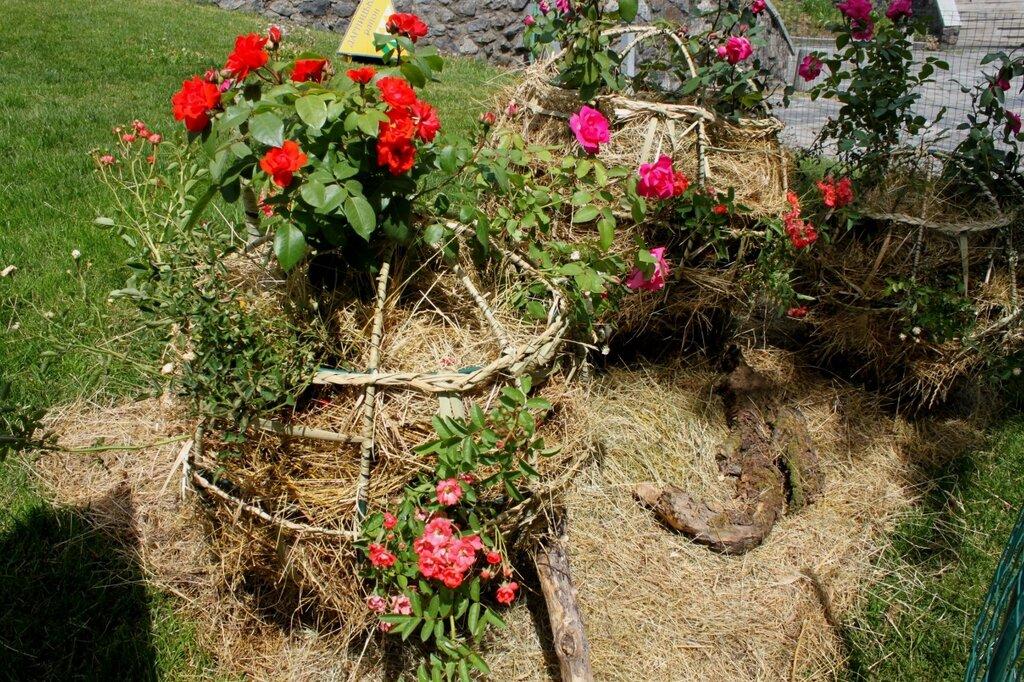 Цветы в плетеных корзинах