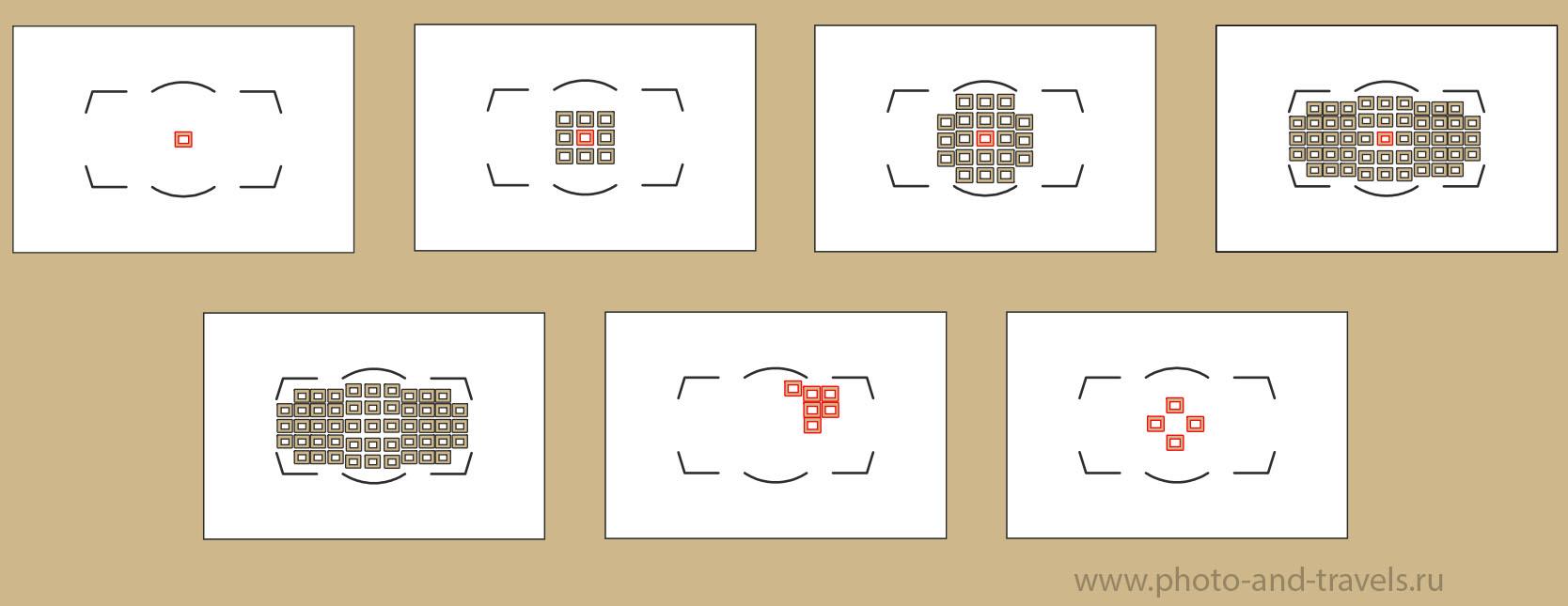Фото 9. Курсы фотографии для новичков. Расположение активных точек в разных режимах АФ