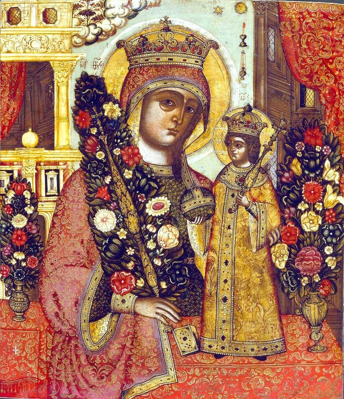 """Икона Божией Матери """"Неувядаемый Цвет"""". Россия, XVIII век."""