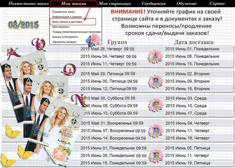 ГРАФИК ДЕЙСТВИЯ КАТАЛОГА КАМПАНИИ 08 2015