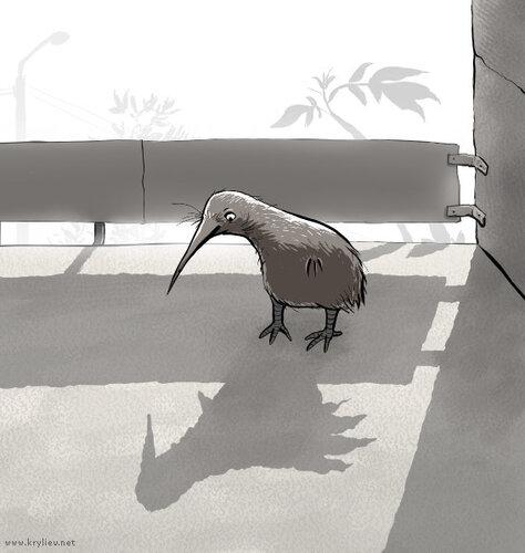 Балкон и птича киви на нем