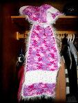 Розовый шарф с пухом