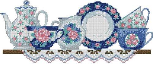 Схема для вышивки - посуда