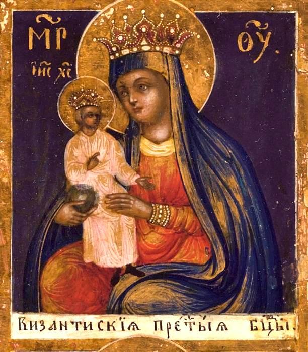 Византийская икона Божией Матери.