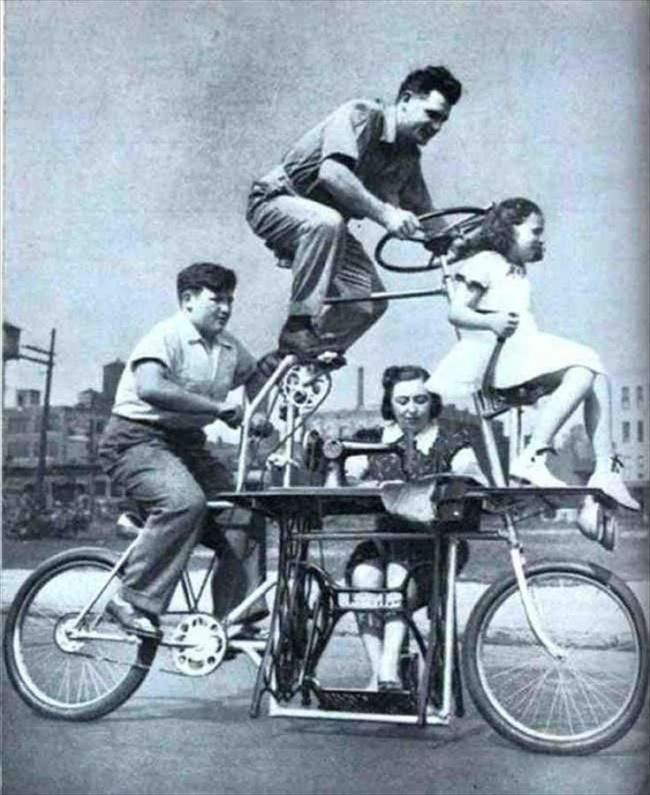 Таким, помнению изобретателя, должен был быть велосипед для всей семьи: обязательно сошвейной маши