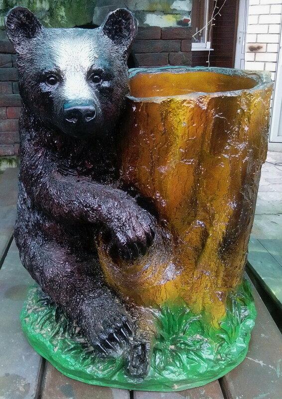 Фигурка для сада Медведь с кадкой