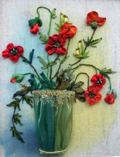 Идеи вышивки лентами.  Благодарю Альбину Вдовину.  Это из ее дневника.