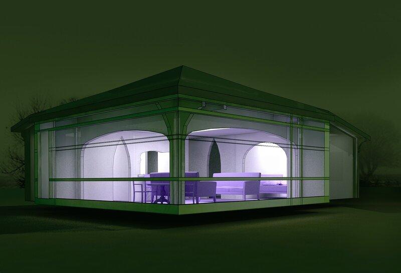 Вар. 2. Ночь 2. Остеклённая Терраса, летний домик с вспомогательными помещениями. Оранжерея, розарий.