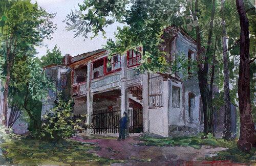 Алексей Писаренко. Дом с галереями на Хитровке.Акварель.2009.