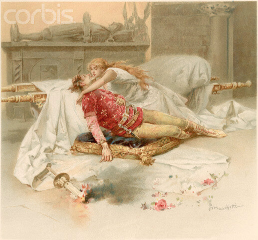Illustration of Juliet Discovering Romeo's Body by Ludovico Marchetti