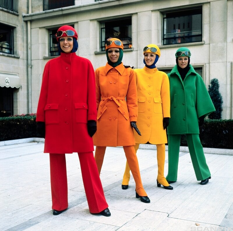 Models Wearing Bright Coats by Guy Laroche