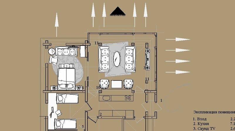 4—Гостиная окружённая цветами и остеклена с двух сторон. План первого этажа. Остеклённая Терраса, летний домик с вспомогательными помещениями. Оранжерея, розарий.