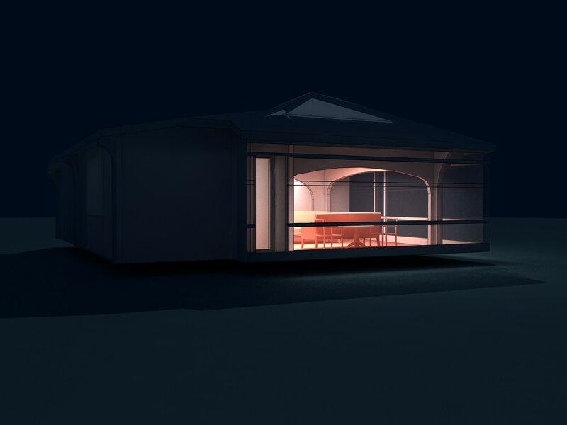 Вар. 2. Ночь. Остеклённая Терраса, летний домик с вспомогательными помещениями. Оранжерея, розарий.