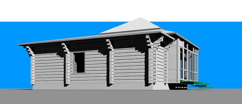 Остеклённая Терраса, летний домик с вспомогательными помещениями. Оранжерея, розарий. Перспективный вид сооружения, со двора.