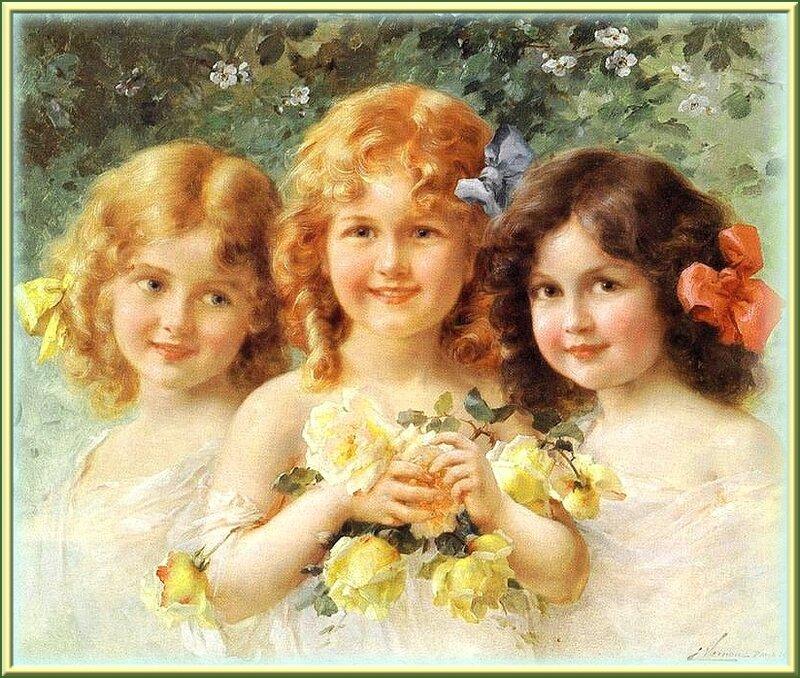 """НЕЖНЫЙ ДЕВИЧИЙ ПОРТРЕТ (Художник Vernon Emilе. """"Three Sisters"""", 1912 г.)"""