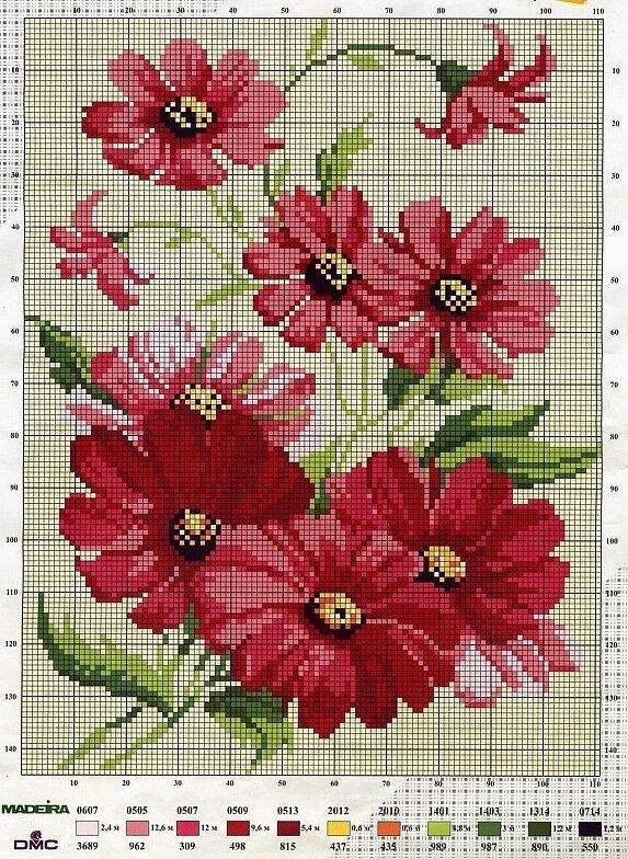 схема вышивки синие цветы