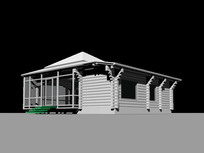 Перспективный вид сооружения, с территории приусадебного участка на витраж остекления гостиной. Остеклённая Терраса, летний домик с вспомогательными помещениями. Оранжерея, розарий.