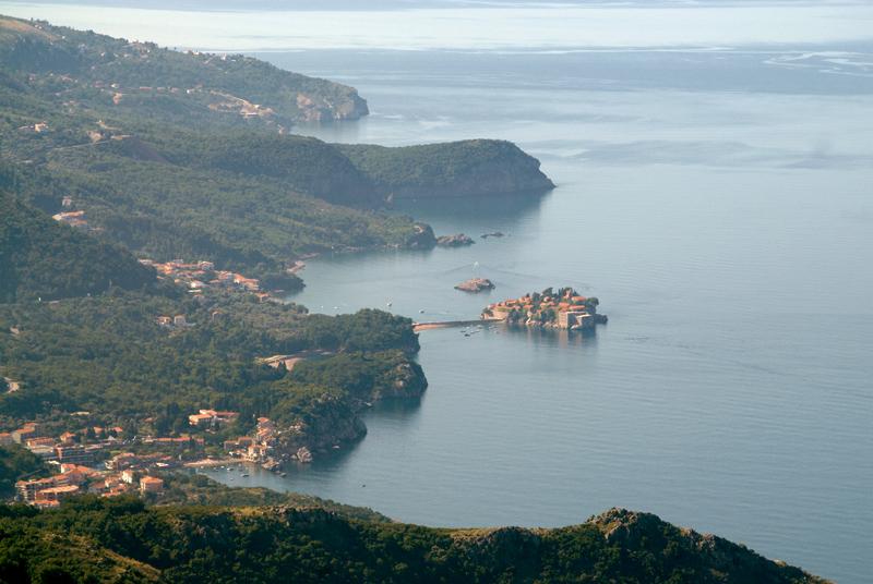 Святой Стефан, вид на остров