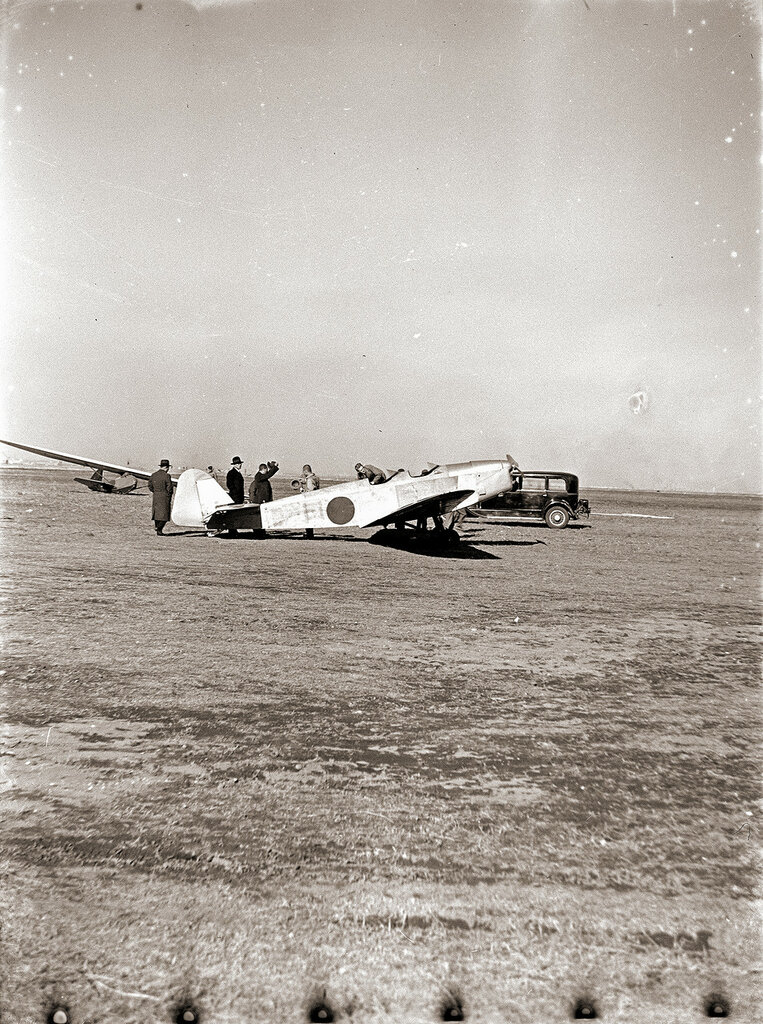 1930s Airplane & Car in Japanese Field