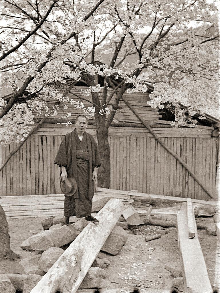 Japanese Man in Kimono & Cherry Blossoms, 1930s.