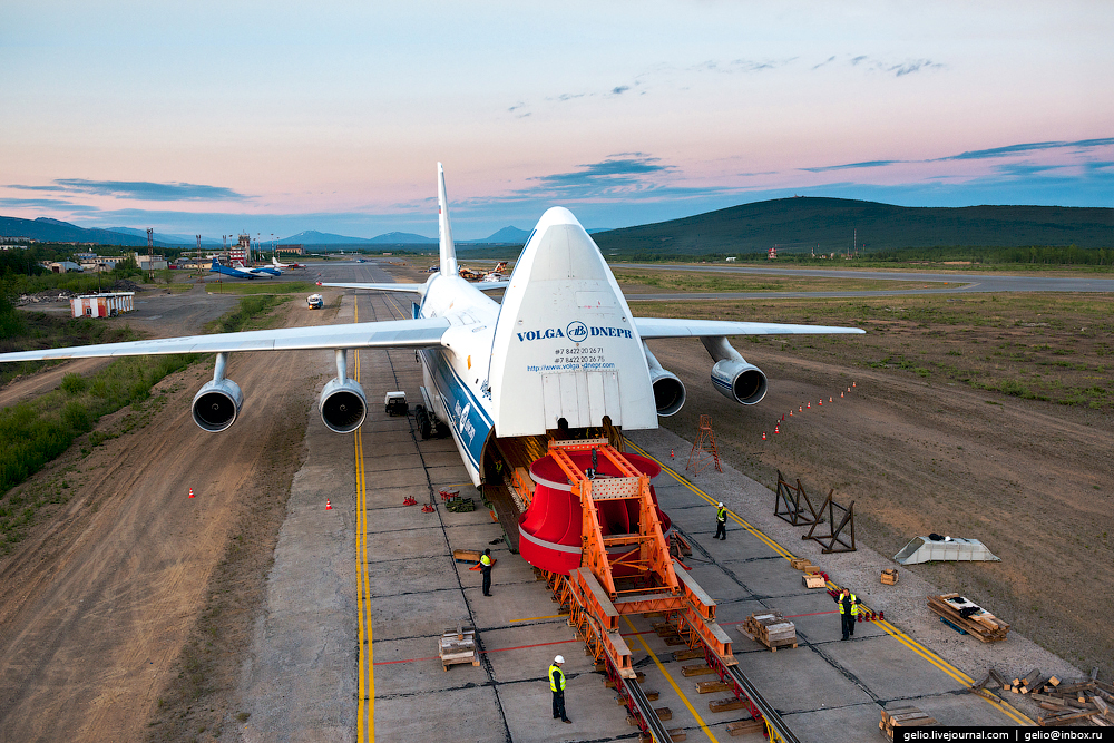 AN-124 Ruslan is the biggest serial-produced airplane in the world. Volga-Dnepr Airlines