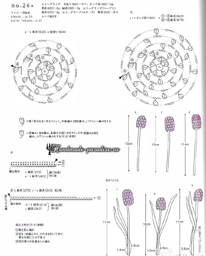 Миниатюрные букетики цветов крючком. Схемы (7)