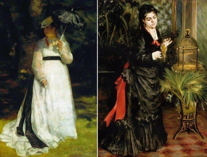 Огюст Ренуар. Слева – *Лиза с зонтиком*, 1867. Справа – *Женщина с попугаем*, 1871