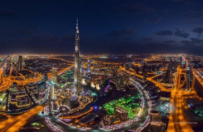 Бурдж Халифа ночью, Дубаи, ОАЭ