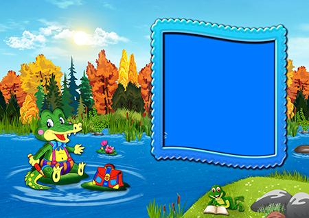 Фоторамка с крокодилом на кувшинке в пруду и лягушонком с книгой