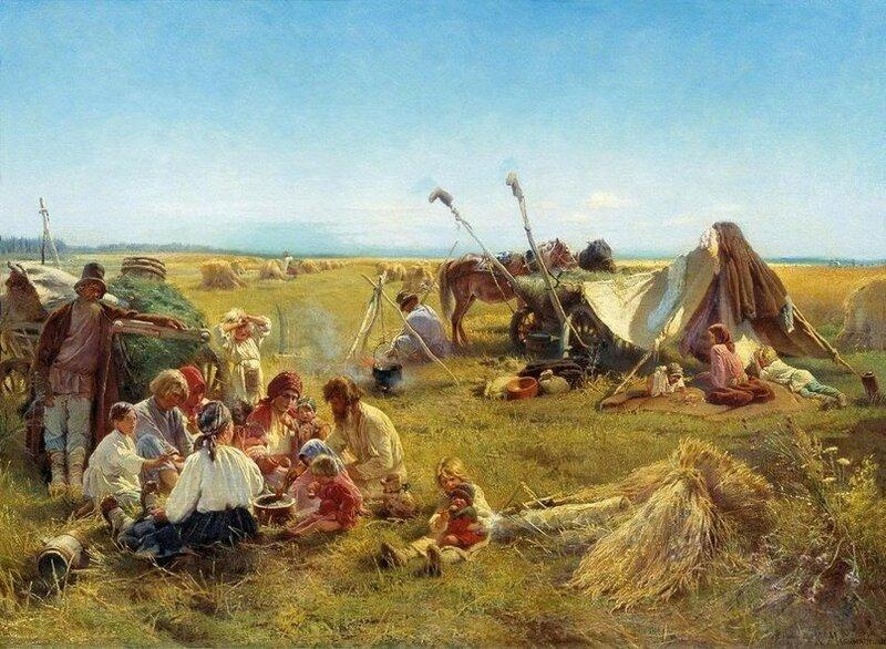 К.Маковский. Крестьянский обед во время жатвы