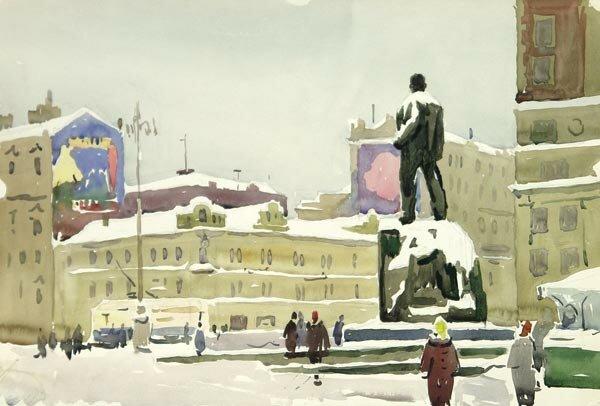 А. А. Ромодановская. Площадь Маяковского, 1956.