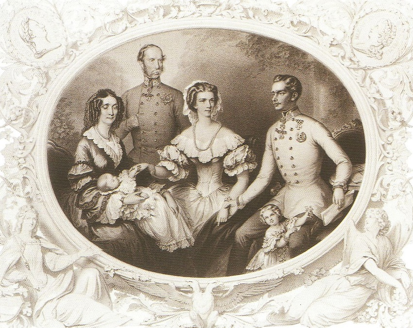императрица Сиси, Франц Иосиф I, Эрцгерцогиня Гизела, Софи Баварии, эрцгерцог Франц Карл и Эрцгерцогиня Софи.