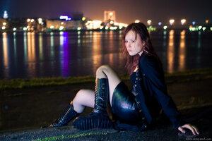 4 девушка, Misty, портрет, ночь, город