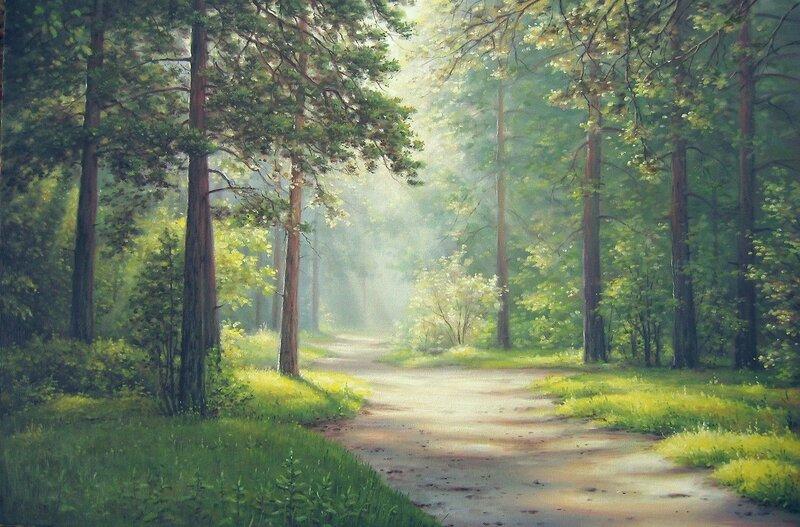 Жемчужные сети тумана укутали сказочный лес. Художник Алексей Сычёв