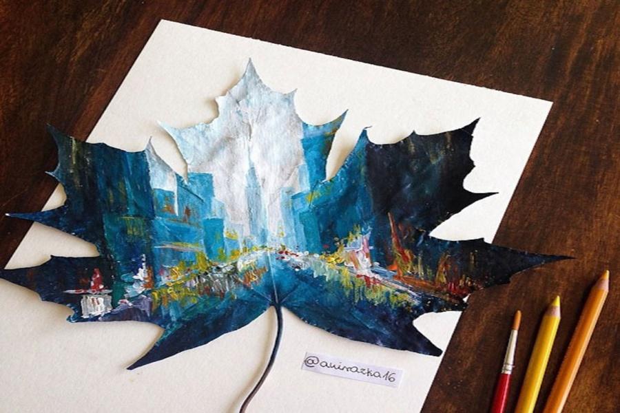 Польская художница превращает в картины обычные осенние листья