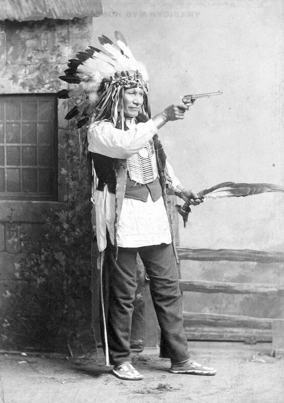 Oglala Sioux Chief American Horse, member of the cast of Buffalo Bill's Wild West Show, 1886